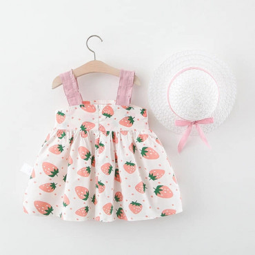 Baby Toddler Girl Pink Summer Dress with Hat