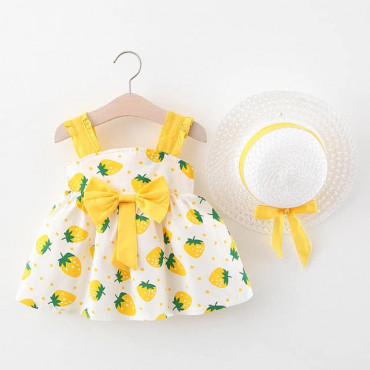 Baby Toddler Girl Yellow Summer Dress with Hat