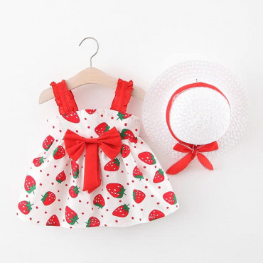 Baby Toddler Girl Red Summer Dress with Hat