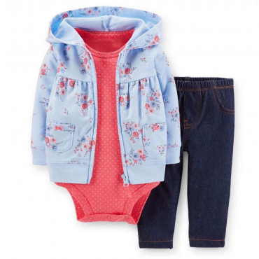 Floral Cotton Baby Girls Hooded Jacket 3 Piece Set