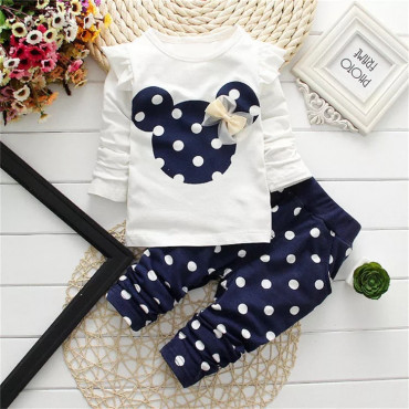 Baby Girls long sleeve 2 Piece Minnie Mouse Blue top & Bottom