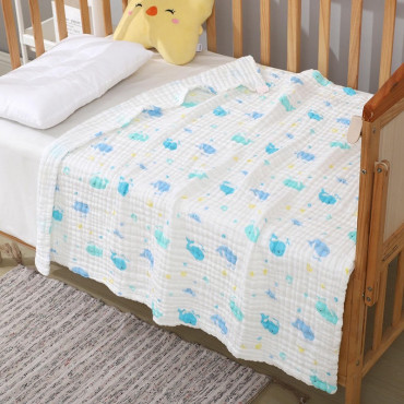 Six layer Blue Whale newborn baby muslin cotton Swaddle Blanket