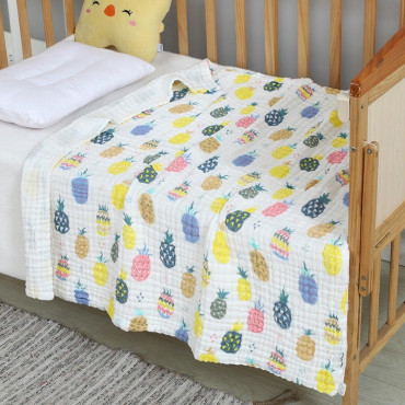 Six Layer Colourful Pinapple Newborn Baby Muslin Cotton Swaddle Blanket