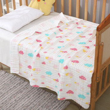 Six Layer Pink Clouds Newborn Baby Muslin Cotton Swaddle Blanket