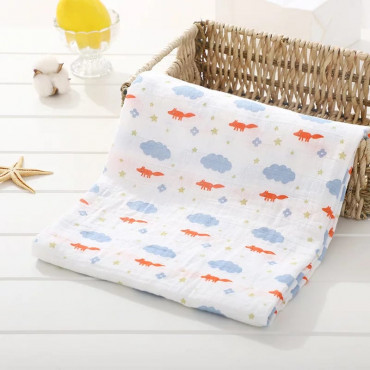 Fox with Cloud and Little Starts Cotton muslin baby Blanket