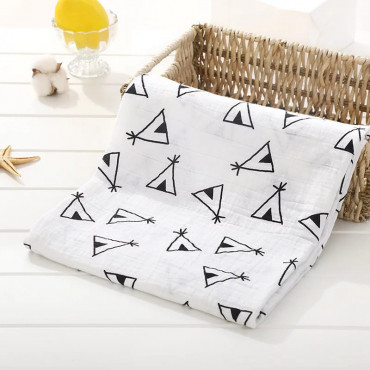 Little play tent printed cotton muslin baby blanket