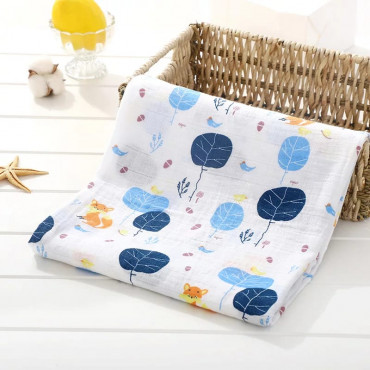 Blue Forest with Fox printed cotton baby blanket