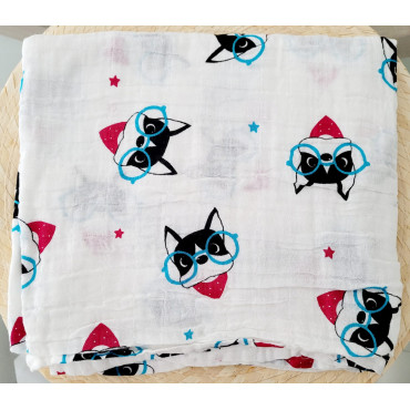 Black cats printed cotton baby blanket