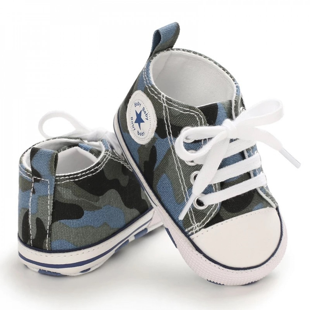 Baby Canvas Shoes Camouflage Blue