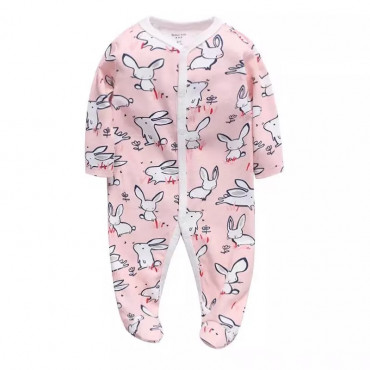Baby Girl Coverall Pink Rabbits