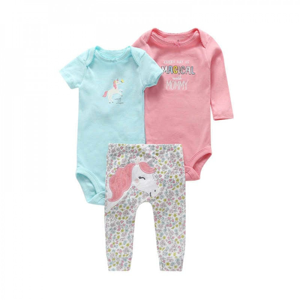 Every Day Is Magical with Mommy Unicorn Baby Girl 3 Piece Bodysuit set