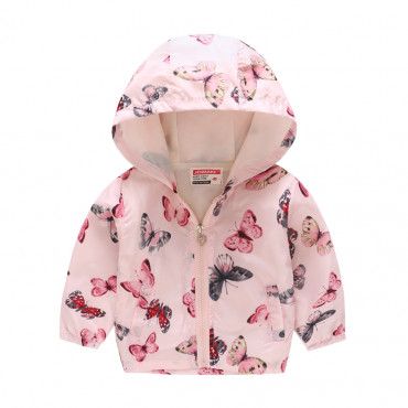 Butterfly themed hooded outerwear RainCoat for little Girls