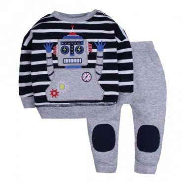 Robot Embroidered Sweatshirt and Long Pant 2 Piece set
