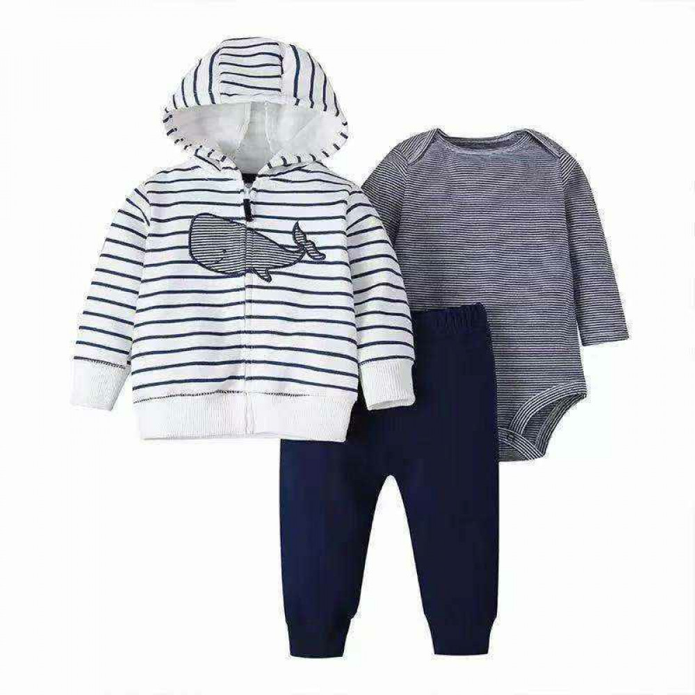 Grey Whale Baby Boys Cotton Hooded Jacket 3 Piece Set
