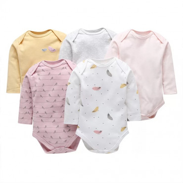 Birdy and feathers girls long sleeves bodysuit 5 pack