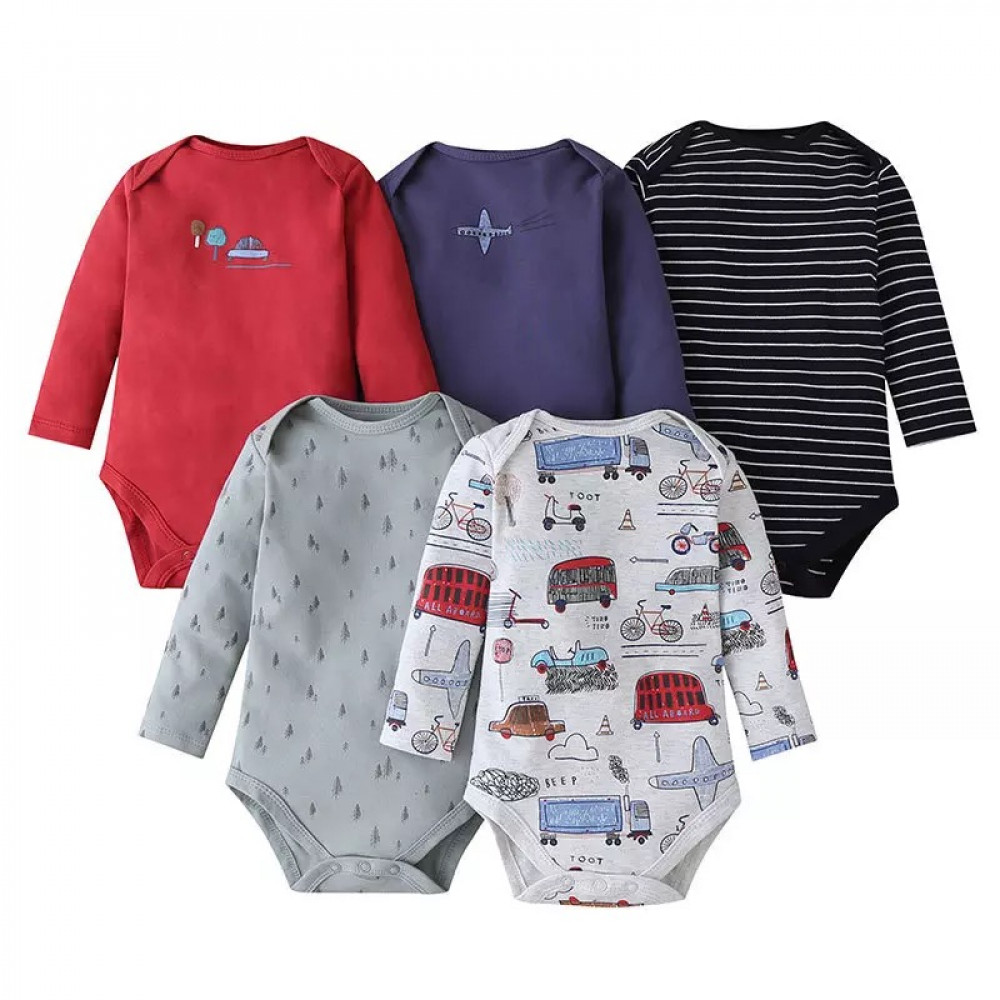 Vehicles and aircrafts boys long sleeves bodysuit 5 pack