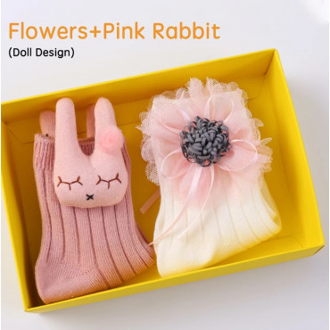 Flowers and pink rabbit baby girl 3D cartoon socks 2 pack