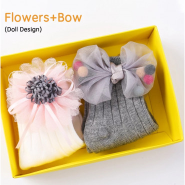 Flowers and bows baby girl 3D cartoon socks 2 pack