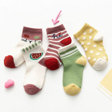 Red Melon Printed Toddler Girls and Boys Socks 5 Pack