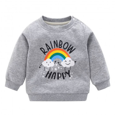 Bow To Rainbow Pullover Grey