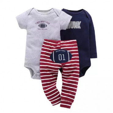 Gray First Draft Pick and Blue Hunk with Striped Pants  Baby Boy 3 Piece set