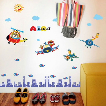Baby Nursery & Kids Bedroom Wall Stickers Planes Over The City