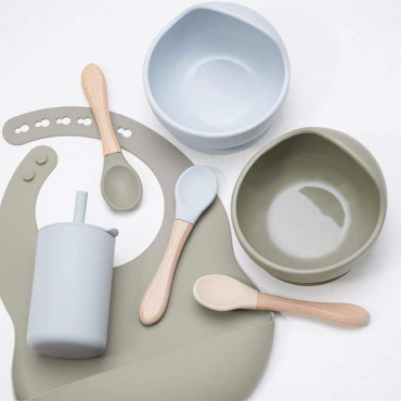 Silicone Baby Bib Bowl Spoon and Cup Set