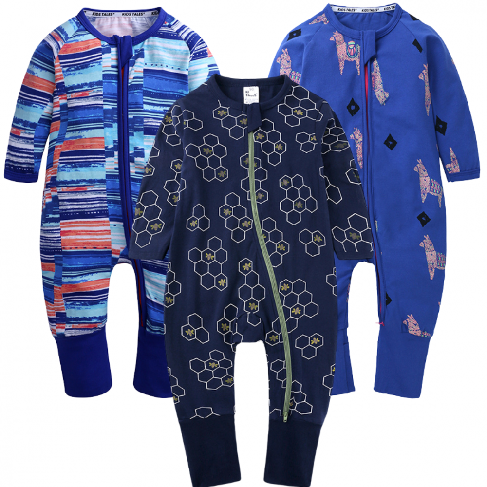 Shades of Blue Baby Zippy Growsuit Boys 3 Pack
