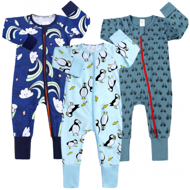 Penguines and Rainbows Baby Zippy Growsuit Boys 3 Pack