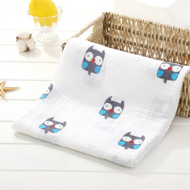Cute Little Owl printed cotton baby blanket