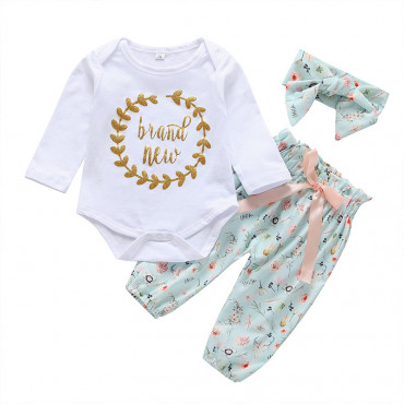 Baby Girl 3 Piece Set European Style Romper, Green Floral Pants with Headband