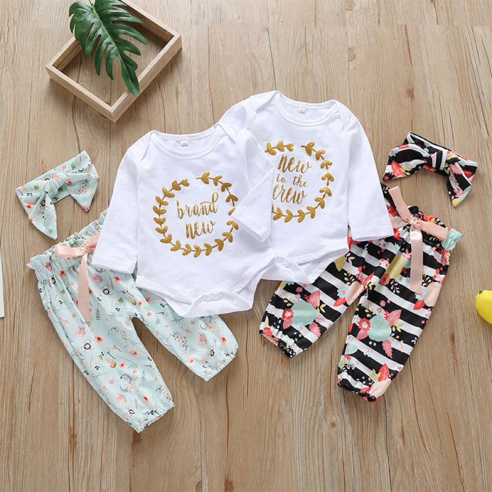 Baby Girl 3 Piece Set European Style Romper, Black Floral Pants with Headband