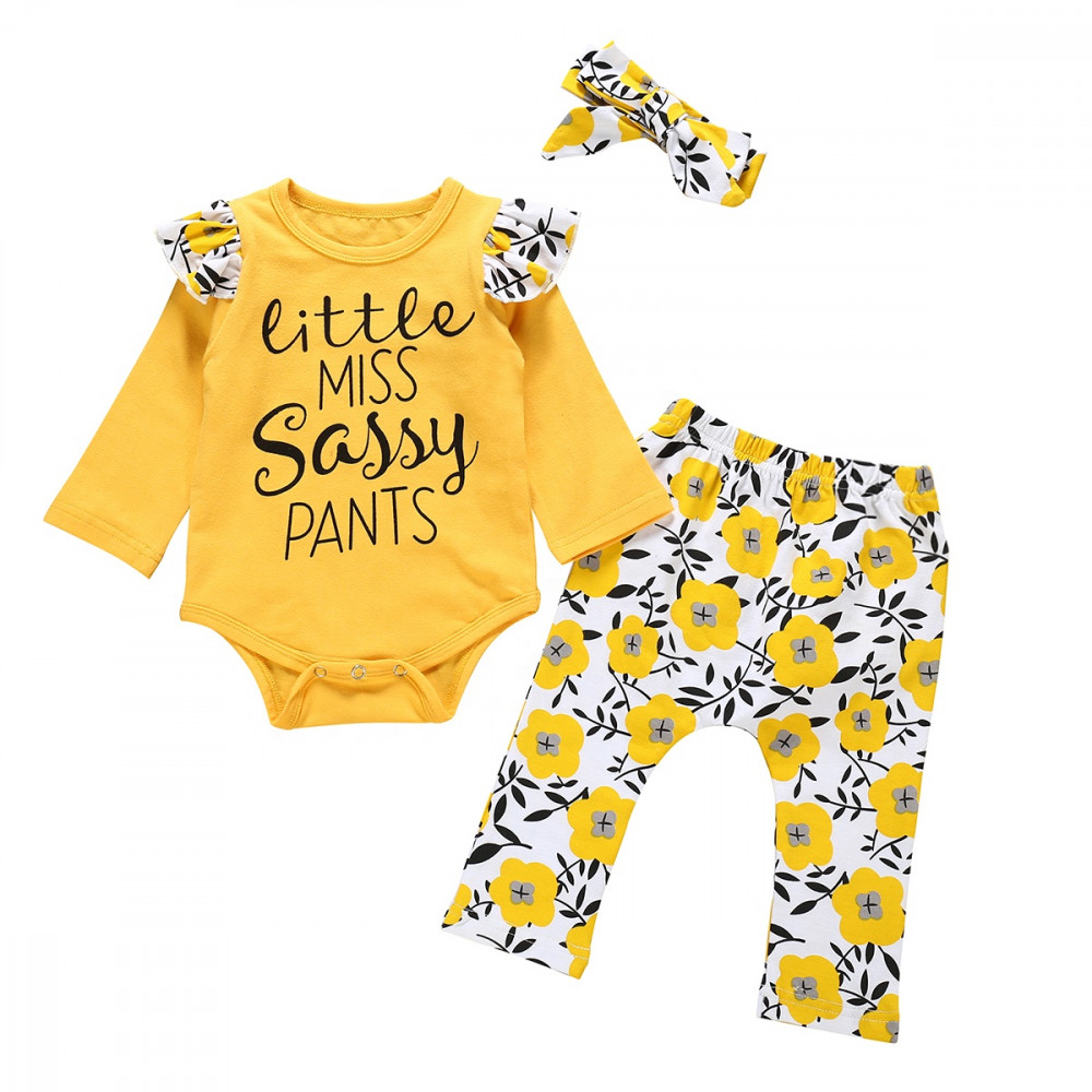 Baby Girl 3 Piece Set European Style Romper, Yellow Floral Pants with Headband