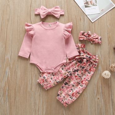 Baby Girl 3 Piece Set European Style Pink Floral Pattern Romper, Pants with Headband