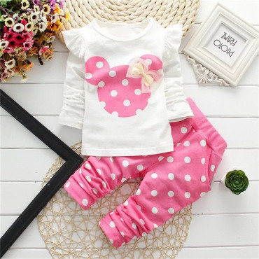 Baby Girls long sleeve 2 Piece Minnie Mouse Pink top & Bottom