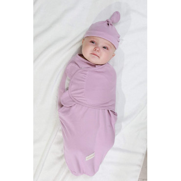 Infant Brown Swaddle Wrap With Hat