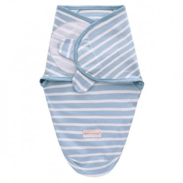Infant Blue Swaddle Wrap With Hat