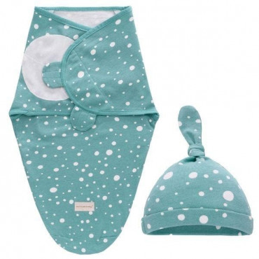 Infant Green Swaddle Wrap With Hat