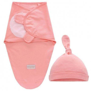 Infant Pink Swaddle Wrap With Hat