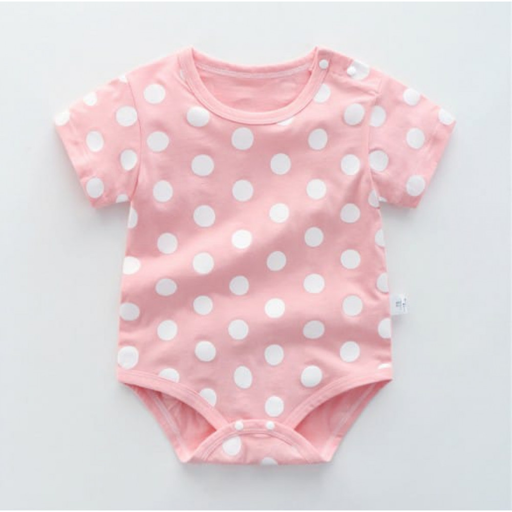 Baby Toddler Girl Pink and White Romper